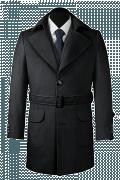 Manteau gris avec ceinture-Vue Avant