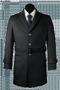 Grauer Mantel mit Gürtel-Ansicht Vorderseite