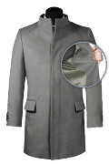 Grey stand up collar Coat-front_open