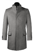 Grey stand up collar Coat-View Front
