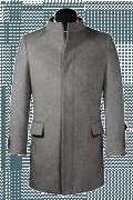 Cappotto a collo alto grigio-Vista Frontale
