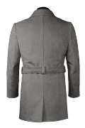Cappotto con cintura grigio-Vista Posteriore