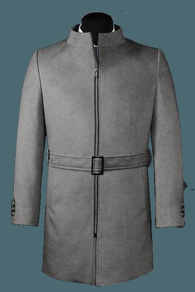 Grauer Stehkragen Mantel