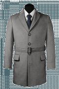 Cappotto con cintura grigio-Vista Frontale