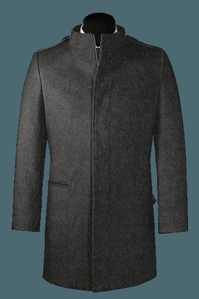 Abrigo gris con cuello recto de lana