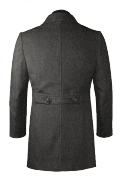 Cappotto a collo alto grigio di lana-Vista Posteriore
