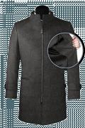 Cappotto a collo alto grigio di lana-front_open