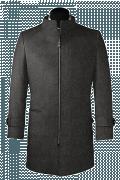 Cappotto a collo alto grigio di lana-Vista Frontale