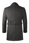 Manteau gris avec ceinture en laine-Vue Dos