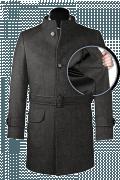 Manteau gris avec ceinture en laine-front_open