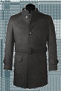 Manteau gris avec ceinture en laine-Vue Avant