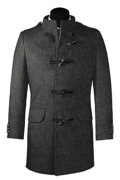 Grey stand up collar Wool Duffle coat