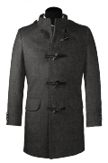 Grey stand up collar Wool Duffle coat-View Front