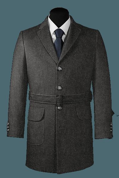 Grauer Mantel aus Wolle mit Gürtel