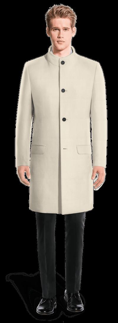énorme réduction d4b9e d6f95 Manteau col officier long blanc