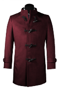 Purple stand up collar Coat-View Front