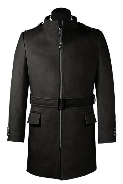 Black belted Wool Coat
