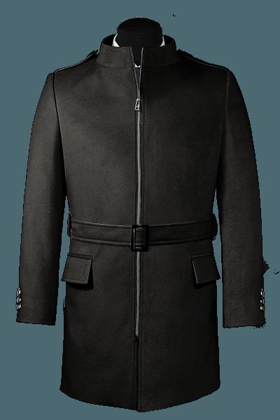 Schwarzer Stehkragen Mantel aus Wolle
