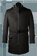 Schwarzer Stehkragen Mantel aus Wolle-Ansicht Vorderseite