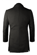 Black stand up collar Wool Coat-View Back