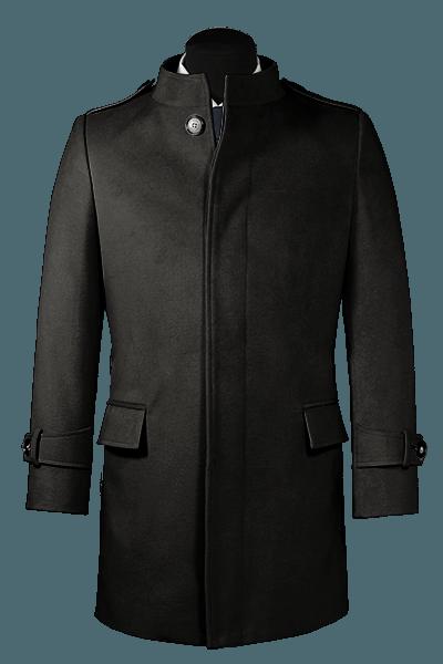 Manteau noir avec col droit en laine