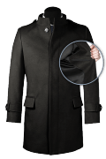 Black stand up collar Wool Coat-front_open