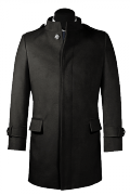 Black stand up collar Wool Coat-View Front