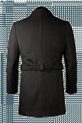 Cappotto con cintura nero di lana-Vista Posteriore