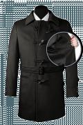 Cappotto con cintura nero di lana-front_open