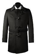 Black belted Wool Coat-View Front
