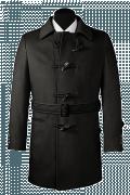 Cappotto con cintura nero di lana-Vista Frontale