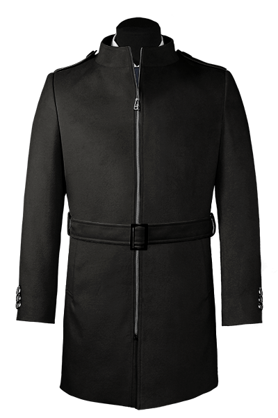 Schwarzer Stehkragen Mantel