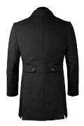 Black stand up collar Coat-View Back