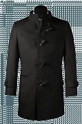 Manteau noir avec col droit-Vue Avant