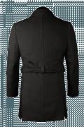 Abrigo negro con cinturón-Vista Trasera