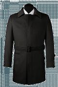 Abrigo negro con cinturón-Vista Frontal