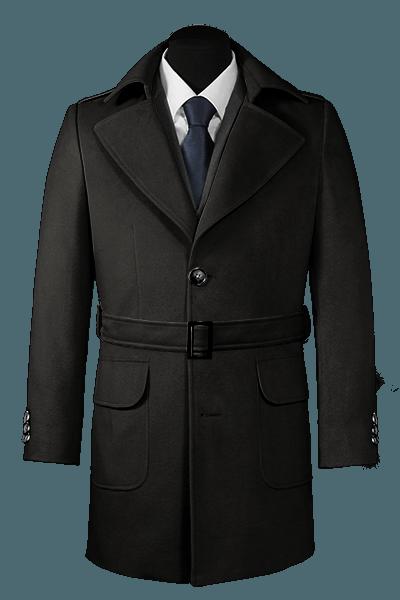 Manteau noir avec ceinture
