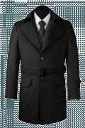 Schwarzer Mantel mit Gürtel-Ansicht Vorderseite