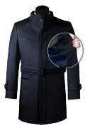 Blue belted Coat-front_open