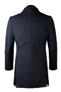 Blue stand up collar Coat-View Back