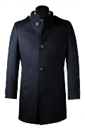 Blue stand up collar Coat-View Front