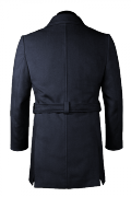 Cappotto con cintura blu-Vista Posteriore