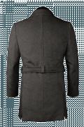 Cappotto con cintura grigio di lana-Vista Posteriore