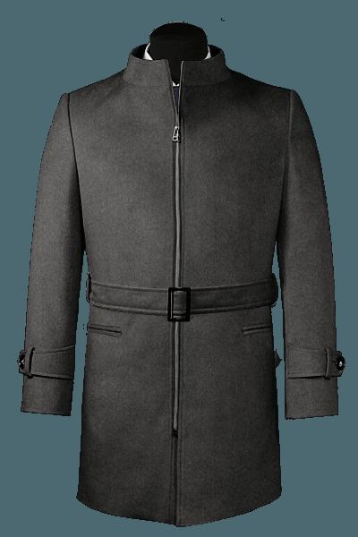 Cappotto con cintura grigio di lana