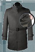 Cappotto con cintura grigio di lana-front_open