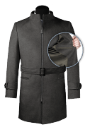 Grey belted Wool Coat-front_open