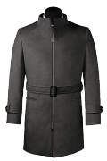 Cappotto con cintura grigio di lana-Vista Frontale