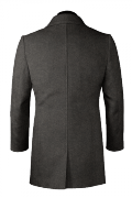 Grey stand up collar Wool Coat-View Back