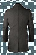 Manteau gris avec col droit en laine-Vue Dos