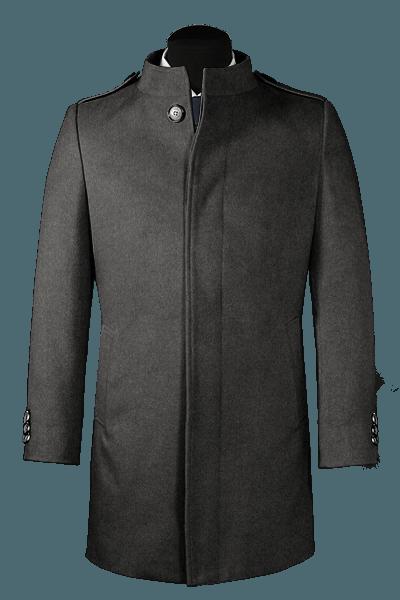 Cappotto a collo alto grigio di lana